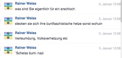 Nazi-Troll namens Weiss, beschimpft Rassismus-Kritiker