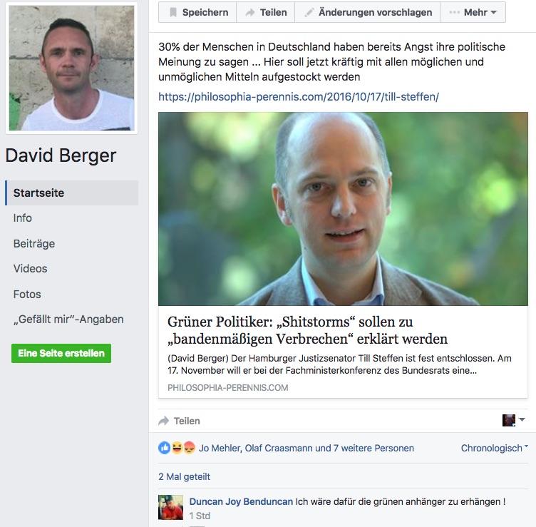In Bergers Welt dürfen Freunde, Andersdenkende gerne erhängen, Screenshot Facebook, Dr. David berger Profil