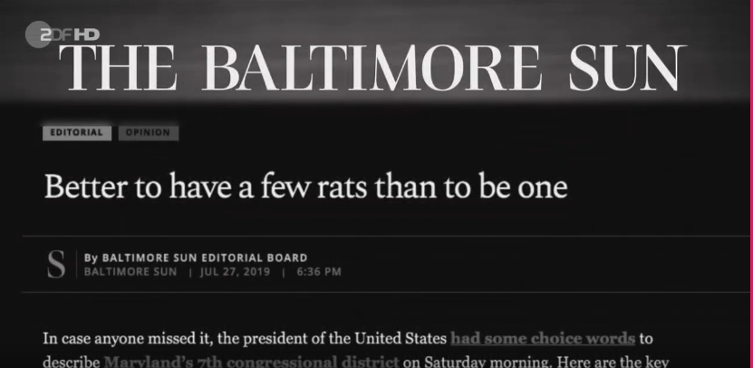 Better to have a few rats than to be one (Balitmore News) about Trump, Foto: Screenshot ZDF Heute Journal