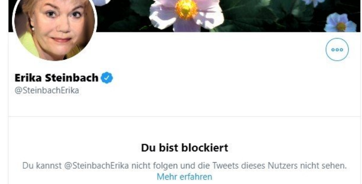 Erika Steinbach hat auf Twitter den AfD-freundlichen homophilen Blogger Dr. David Berger blockiert