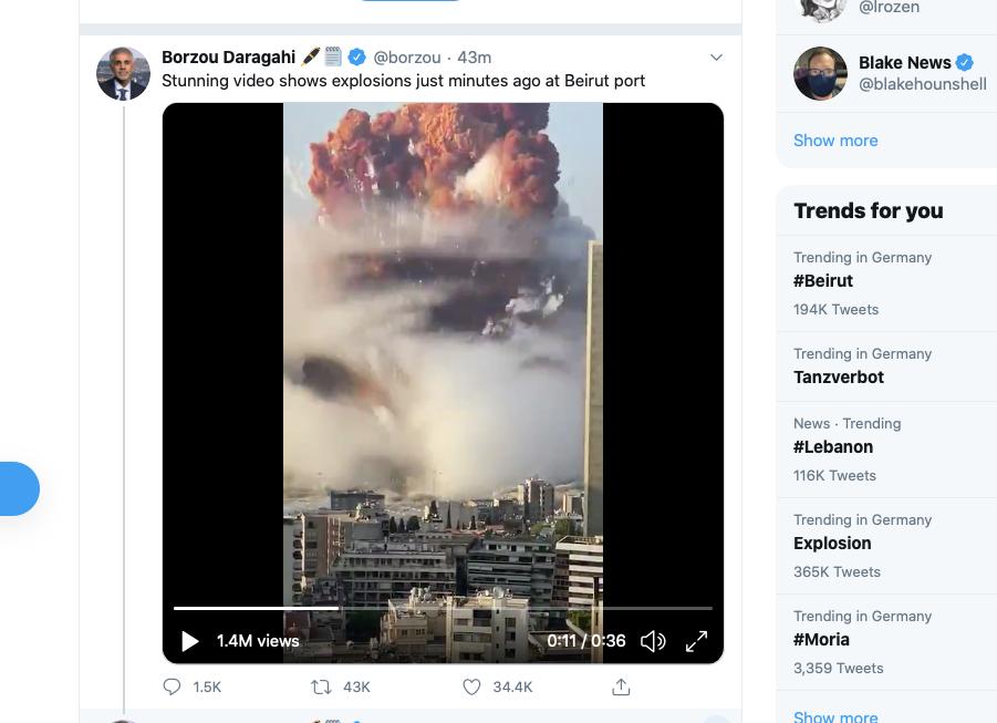 Zerstörerische Explosion zerstört Innenstadt der Milionenmetrople Beirut.