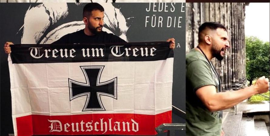 Attila Hildmann mit Reichskriegsflagge des Deutschen Reichs