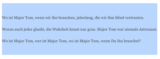 "Songwriting, Liedermacher, Liedtext zu ""Wo ist Major Tom?"""