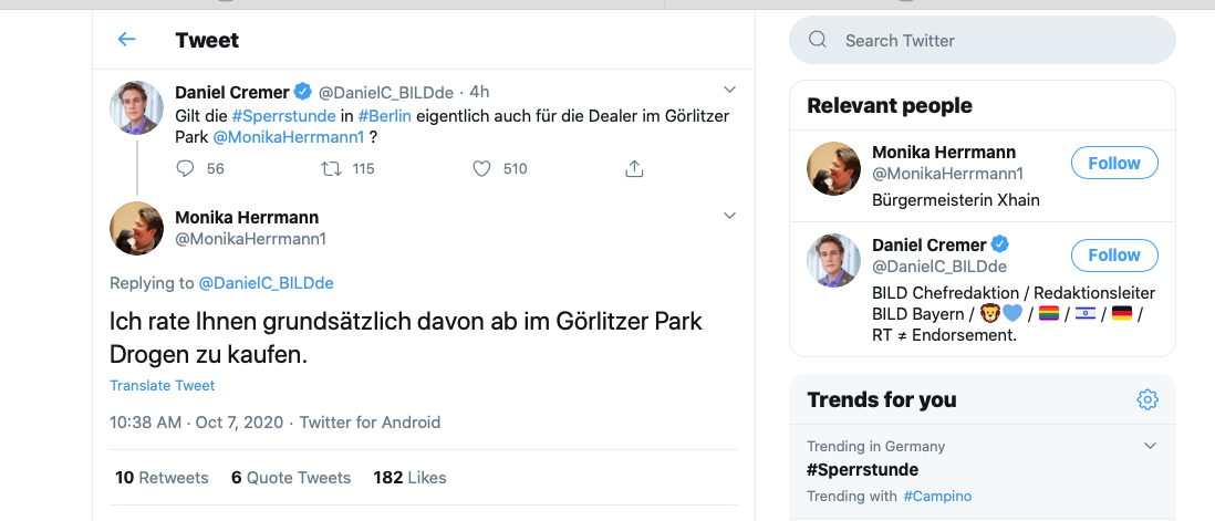 Will Bild-Chef Bayern Drogen im Görli kaufen?