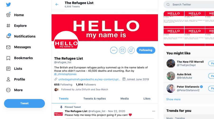 Refugee List Twitter