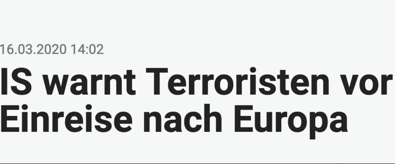Headline-Tourismus: Islamischer Staat warnt Terroristen wegen Corona vor Einreise nach Europa