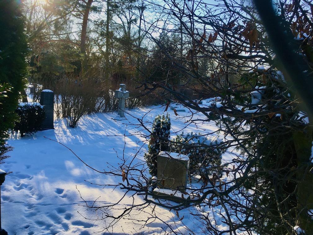 Sant Thomas Kirchhof-Friedhof vom Mittelweg in Neukölln aus fotografiert