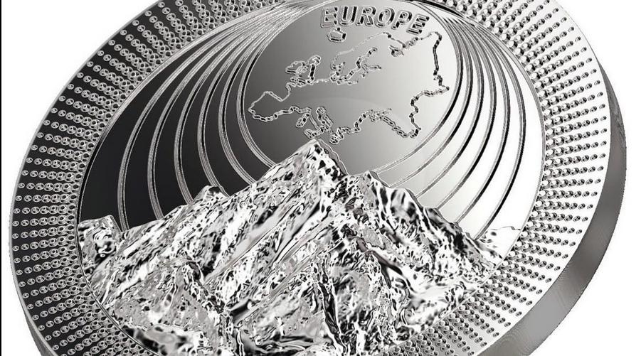 Mont Blanc ist Hauptmotiv der Silbermünze Europe aus der neuen Münzserie The Continents