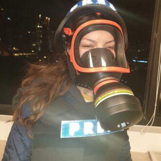 Mariam Seif am Rande einer Demonstration in Beirut, Libanon