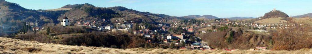 Panorama of Banská Štiavnica with Calvary hill behind.