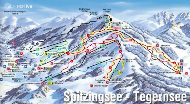 Skiplan von Spitzingsee/Tgernsee in Bayern, gezeigt im ZDF-Fernsehgarten