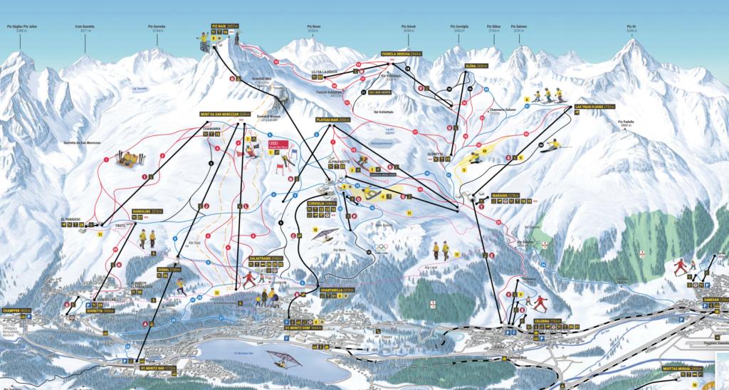 Skiplan von St. Moritz im Engerdin in der Schweiz