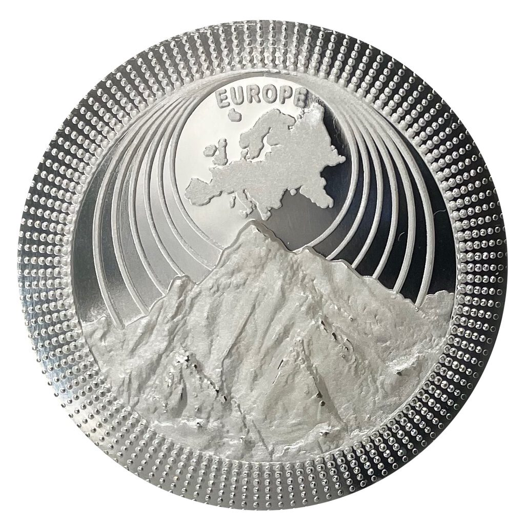 Silbermünzen   Silver coins THE CONTINENTS 2021 EUROPE   Mont Blanc 1 OZ 9999 Proof Silver Coin   High Relief