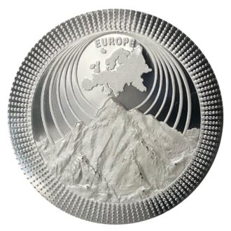 Silbermünzen | Silver coins THE CONTINENTS 2021 EUROPE | Mont Blanc 1 OZ 9999 Proof Silver Coin | High Relief