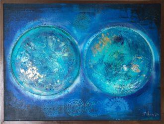 """The Universe 2020"": Tiefblaue Mandalas auf dem Gemälde von Elisa Lejuez"